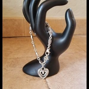 Brighton Scrolled Link Bracelet Dangling Heart